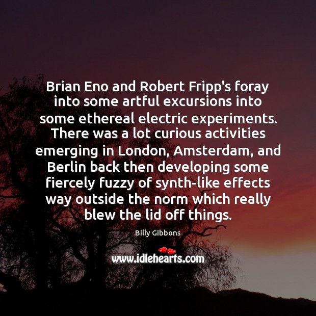 Image, Brian Eno and Robert Fripp's foray into some artful excursions into some