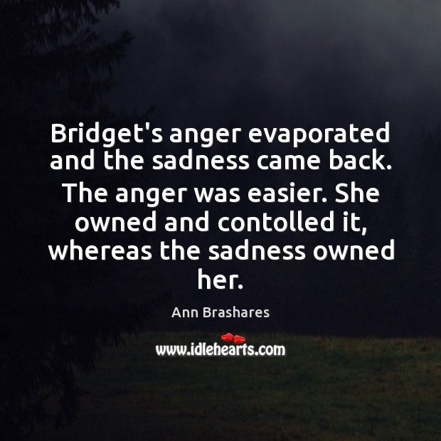 Image, Bridget's anger evaporated and the sadness came back. The anger was easier.
