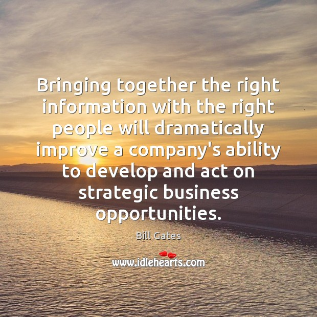 Bringing together the right information with the right people will dramatically improve Image