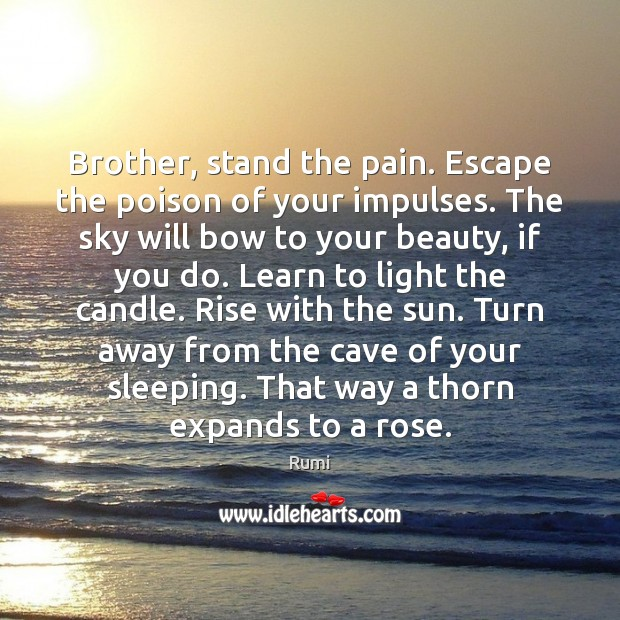 Image, Brother, stand the pain. Escape the poison of your impulses. The sky
