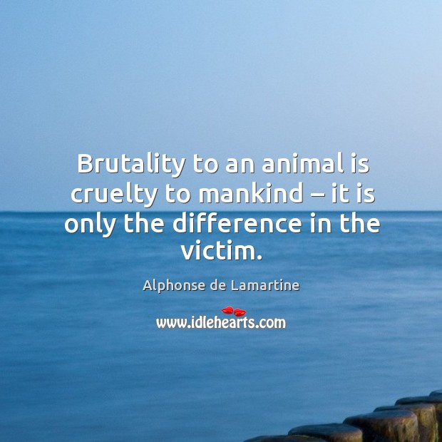 Brutality to an animal is cruelty to mankind – it is only the difference in the victim. Image