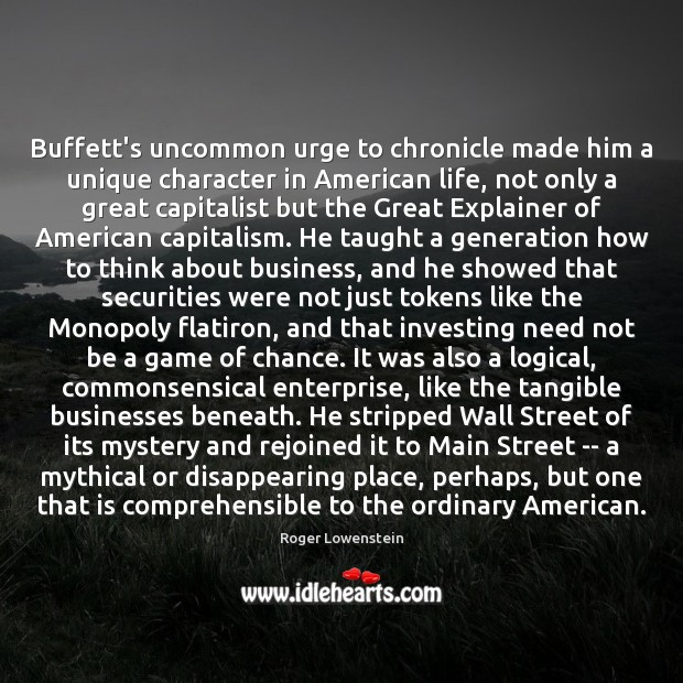 Image, Buffett's uncommon urge to chronicle made him a unique character in American