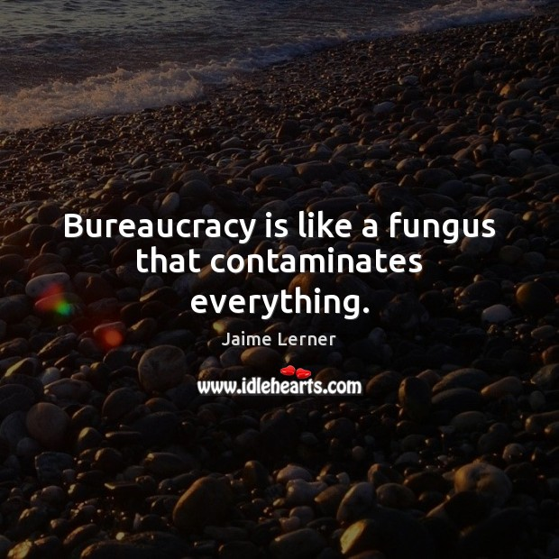 Image, Bureaucracy is like a fungus that contaminates everything.