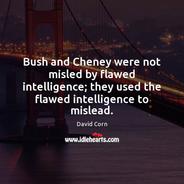 Bush and Cheney were not misled by flawed intelligence; they used the Image