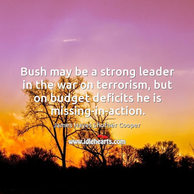 Image, Bush may be a strong leader in the war on terrorism, but on budget deficits he is missing-in-action.
