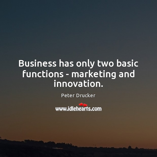 Business has only two basic functions – marketing and innovation. Image