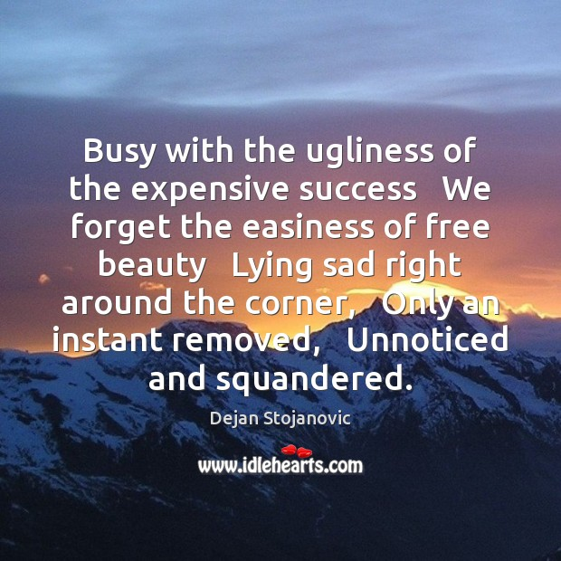 Busy with the ugliness of the expensive success   We forget the easiness Dejan Stojanovic Picture Quote