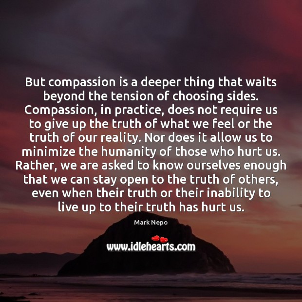 But compassion is a deeper thing that waits beyond the tension of Mark Nepo Picture Quote