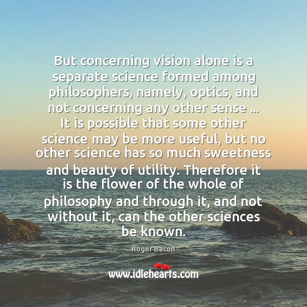 But concerning vision alone is a separate science formed among philosophers, namely, Image