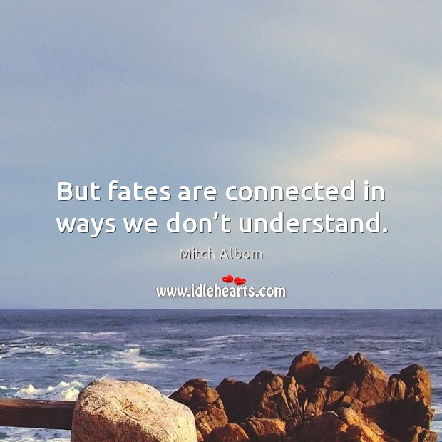 But fates are connected in ways we don't understand. Mitch Albom Picture Quote