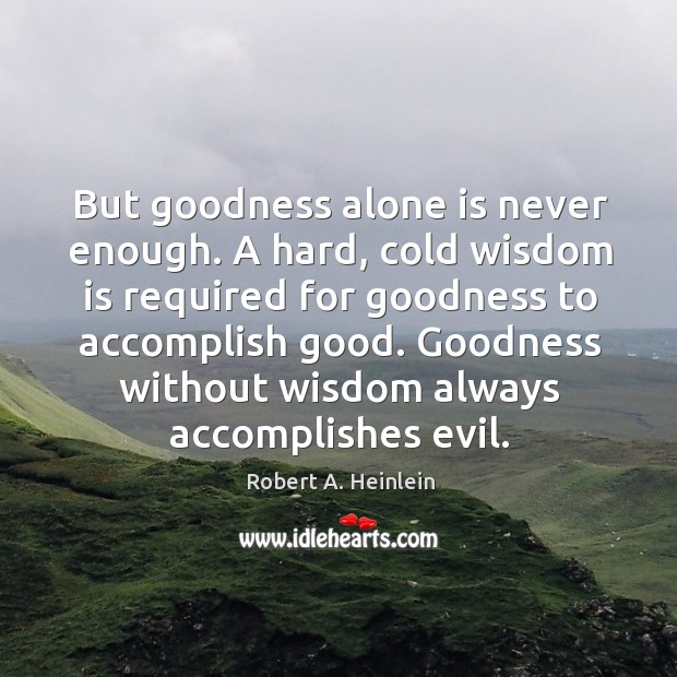 But goodness alone is never enough. A hard, cold wisdom is required Image
