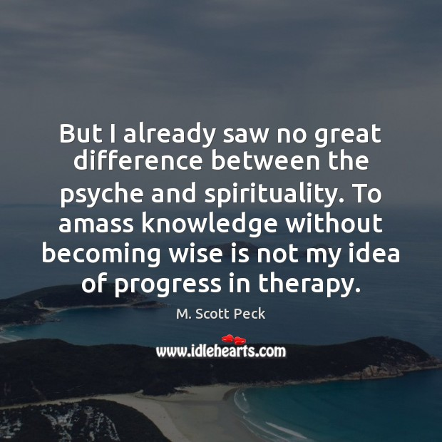 But I already saw no great difference between the psyche and spirituality. Progress Quotes Image