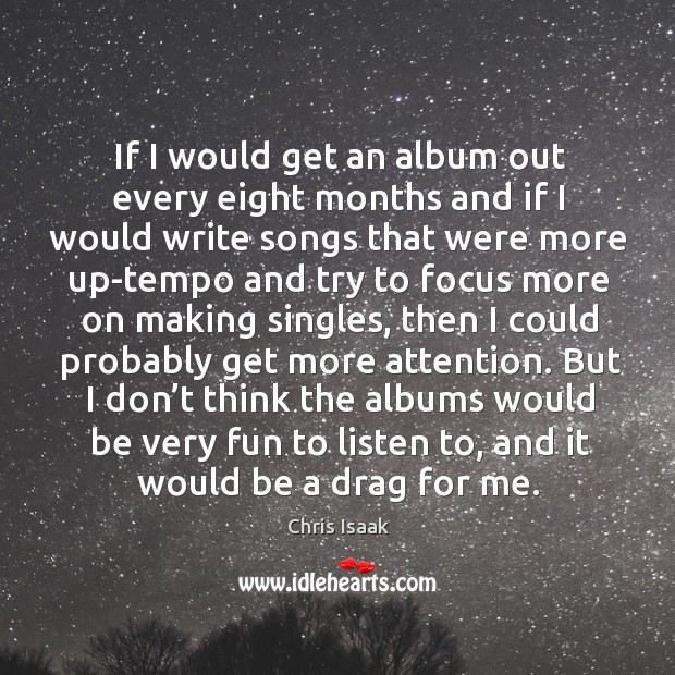 But I don't think the albums would be very fun to listen to, and it would be a drag for me. Chris Isaak Picture Quote