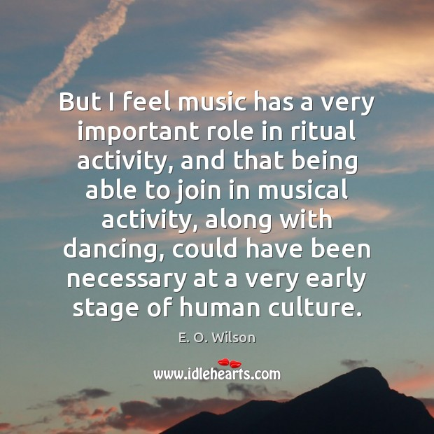 Image, But I feel music has a very important role in ritual activity,