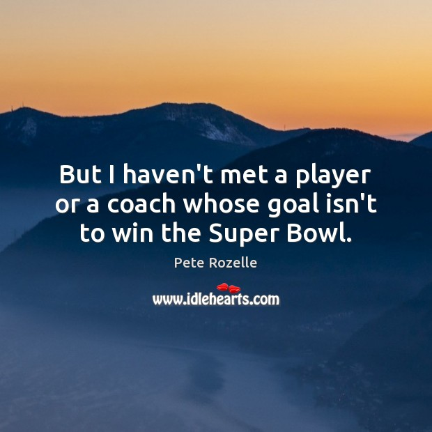 Image, But I haven't met a player or a coach whose goal isn't to win the Super Bowl.