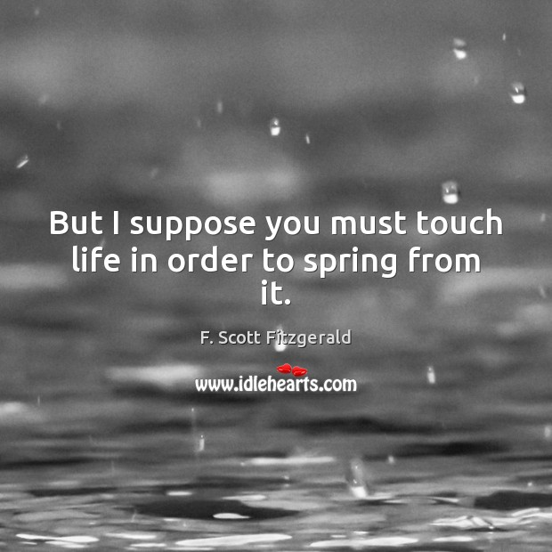 But I suppose you must touch life in order to spring from it. F. Scott Fitzgerald Picture Quote