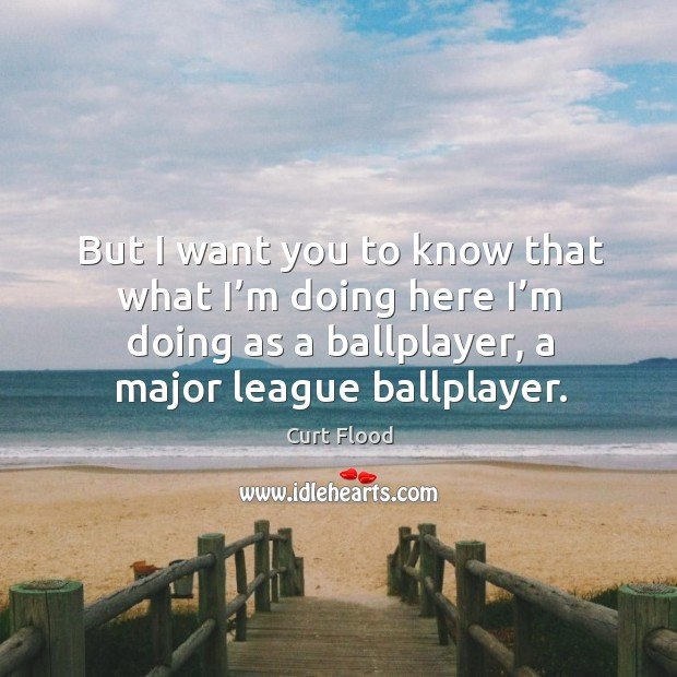But I want you to know that what I'm doing here I'm doing as a ballplayer, a major league ballplayer. Image