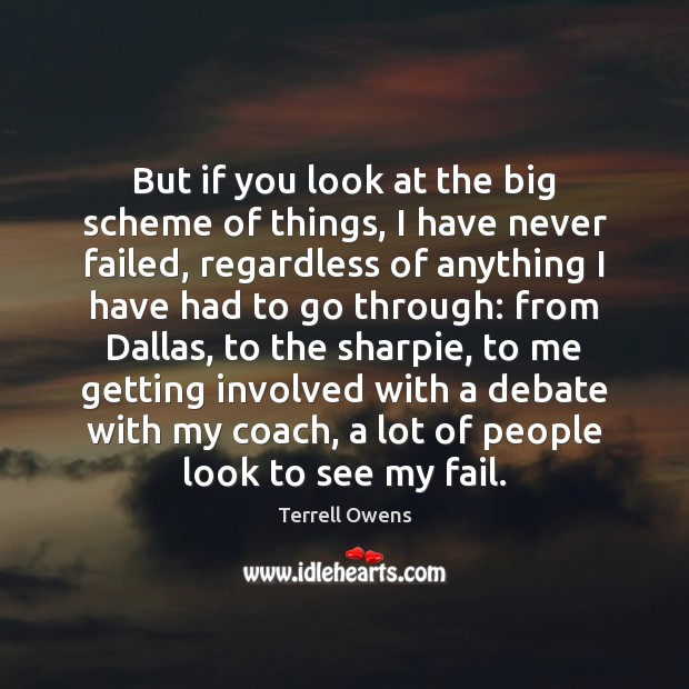 But if you look at the big scheme of things, I have Terrell Owens Picture Quote