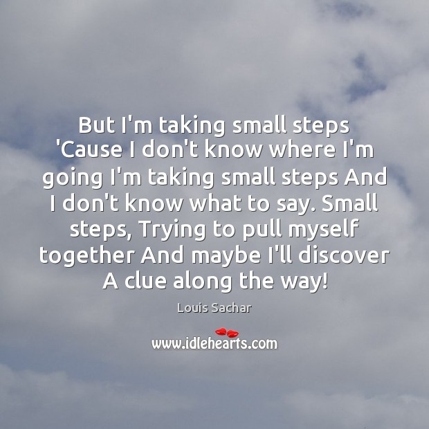 But I'm taking small steps 'Cause I don't know where I'm going Louis Sachar Picture Quote