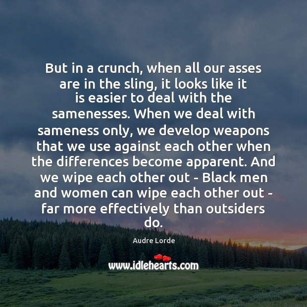 But in a crunch, when all our asses are in the sling, Audre Lorde Picture Quote