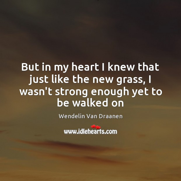 But in my heart I knew that just like the new grass, Wendelin Van Draanen Picture Quote