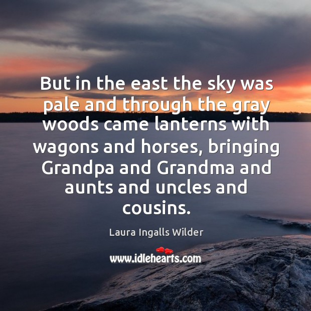Image, But in the east the sky was pale and through the gray woods came lanterns with wagons and horses