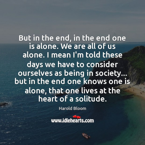 But in the end, in the end one is alone. We are Harold Bloom Picture Quote