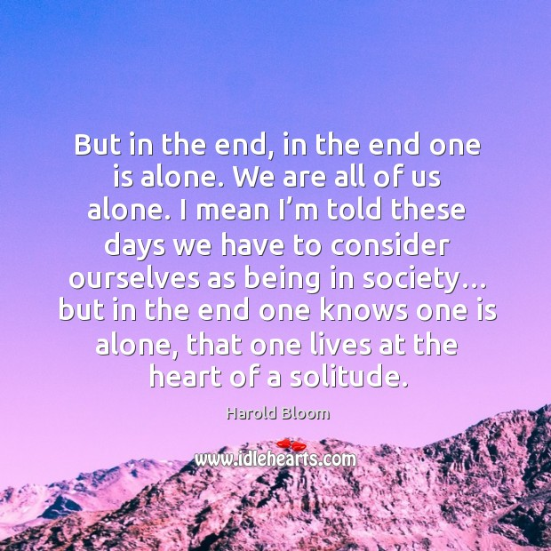 But in the end, in the end one is alone. Harold Bloom Picture Quote
