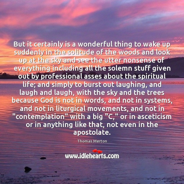 But it certainly is a wonderful thing to wake up suddenly in Image