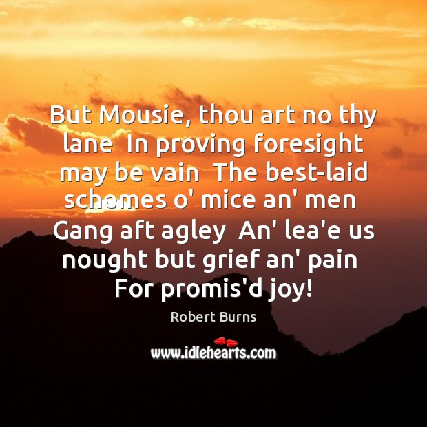 But Mousie, thou art no thy lane  In proving foresight may be Image