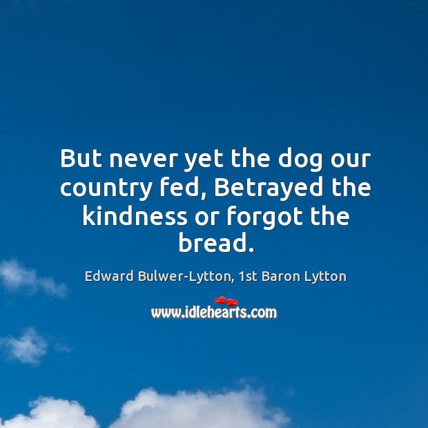 But never yet the dog our country fed, Betrayed the kindness or forgot the bread. Image