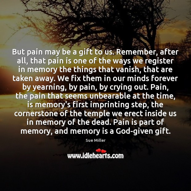 But pain may be a gift to us. Remember, after all, that Image