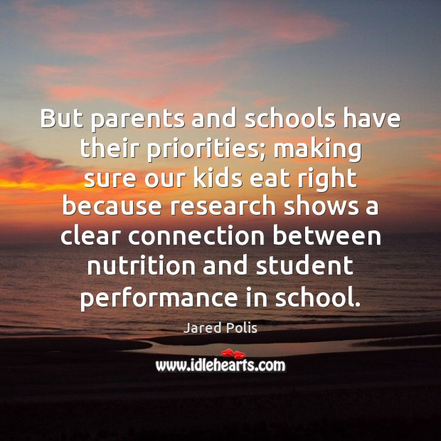 But parents and schools have their priorities; making sure our kids eat Image
