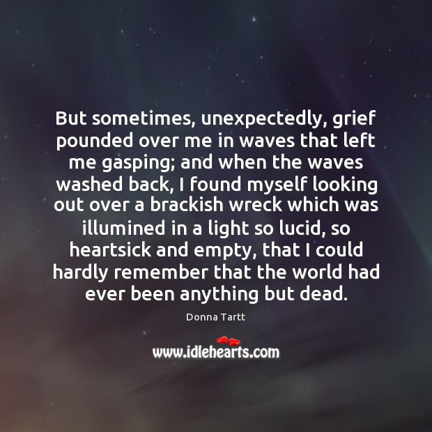 But sometimes, unexpectedly, grief pounded over me in waves that left me Donna Tartt Picture Quote