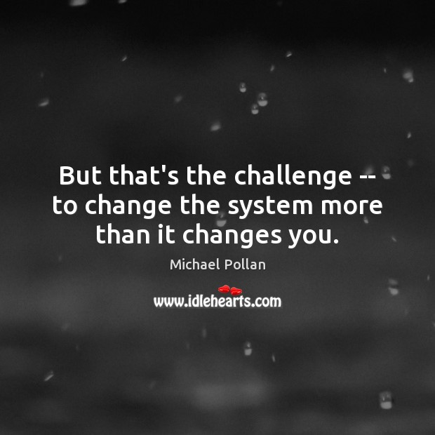 But that's the challenge — to change the system more than it changes you. Image
