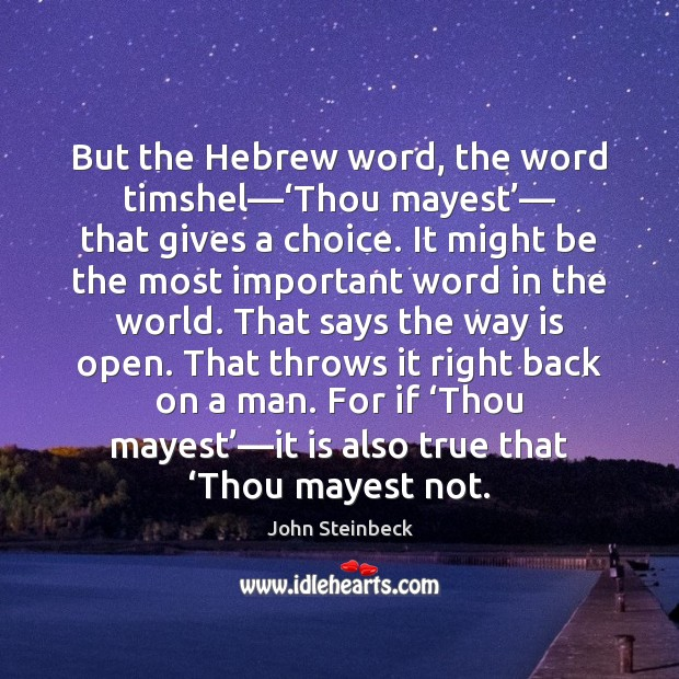 But the Hebrew word, the word timshel—'Thou mayest'— that gives a Image