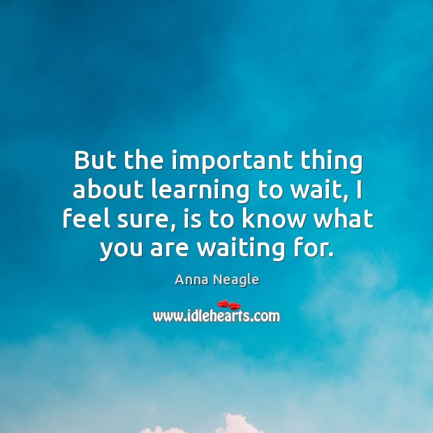 Image, But the important thing about learning to wait, I feel sure, is to know what you are waiting for.