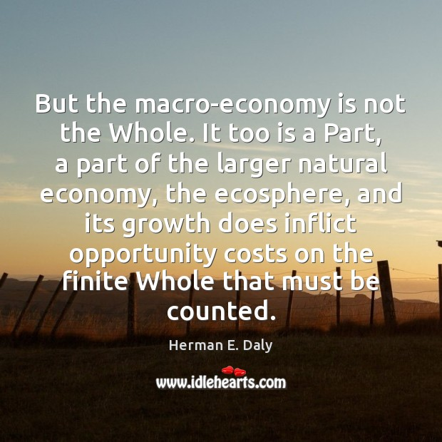 But the macro-economy is not the Whole. It too is a Part, Herman E. Daly Picture Quote