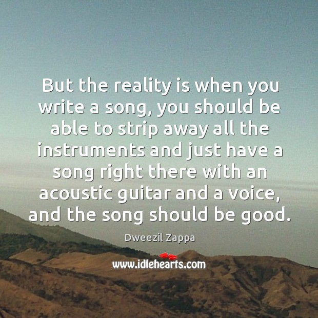 But the reality is when you write a song, you should be able to strip Dweezil Zappa Picture Quote