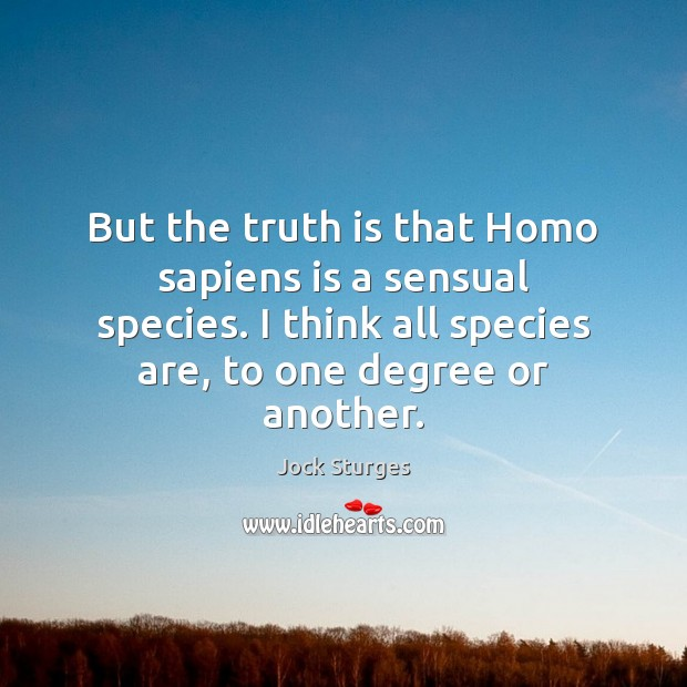 But the truth is that Homo sapiens is a sensual species. I Image