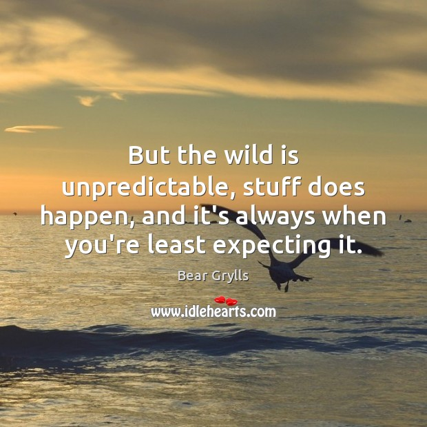 But the wild is unpredictable, stuff does happen, and it's always when Bear Grylls Picture Quote