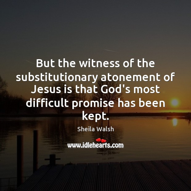 But the witness of the substitutionary atonement of Jesus is that God's Image