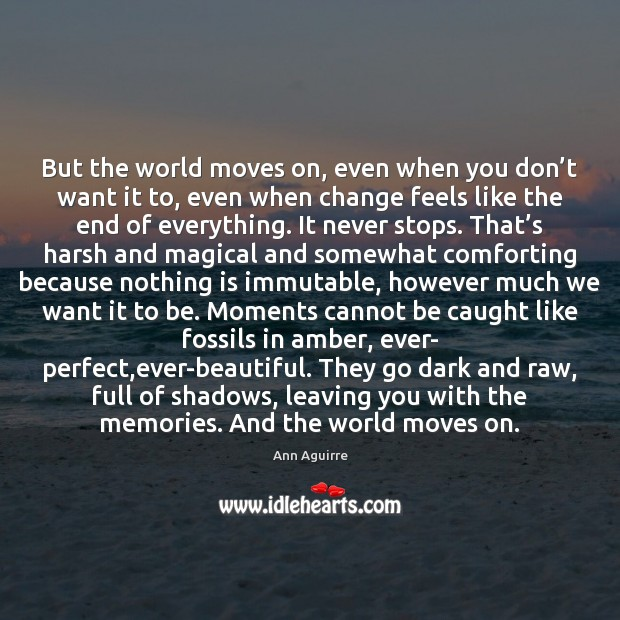 But the world moves on, even when you don't want it Ann Aguirre Picture Quote