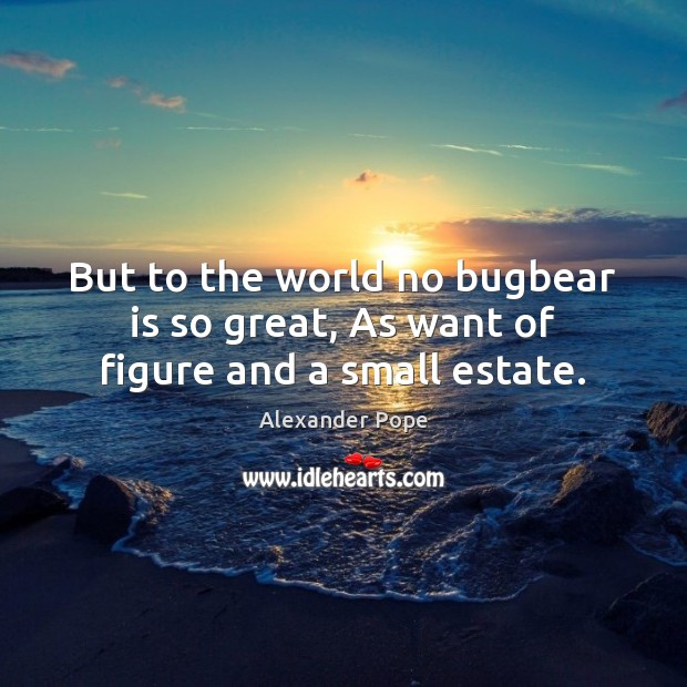 Image, But to the world no bugbear is so great, As want of figure and a small estate.