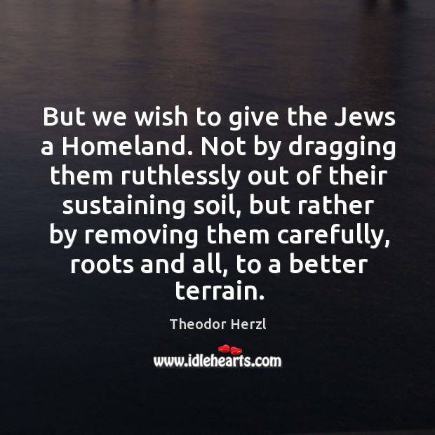 Image, But we wish to give the jews a homeland. Not by dragging them ruthlessly out of their sustaining soil