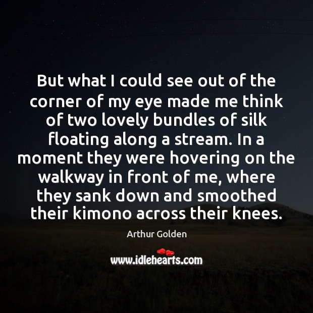 But what I could see out of the corner of my eye Arthur Golden Picture Quote