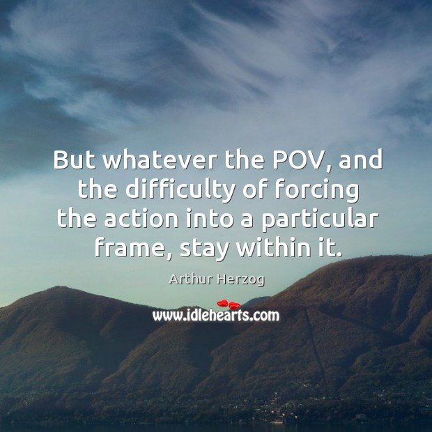 Image, But whatever the pov, and the difficulty of forcing the action into a particular frame, stay within it.