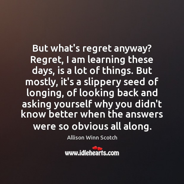 Image, But what's regret anyway? Regret, I am learning these days, is a