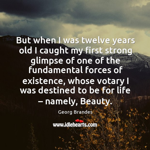 But when I was twelve years old I caught my first strong glimpse of one of the Georg Brandes Picture Quote
