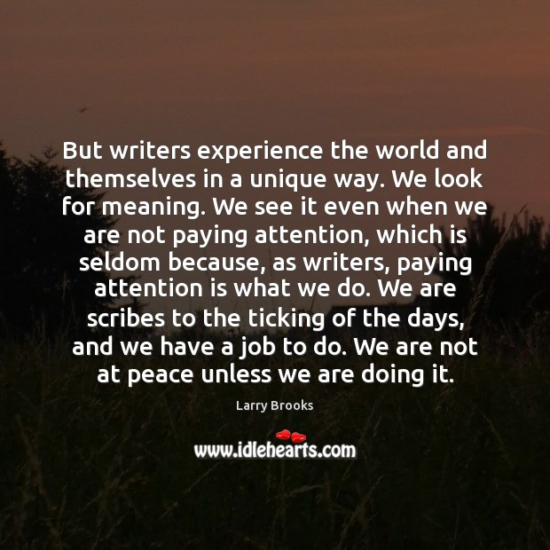 Image, But writers experience the world and themselves in a unique way. We